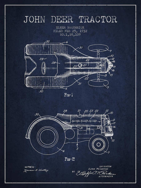 Old Tractor Digital Art - John Deer Tractor Patent Drawing From 1932 - Navy Blue by Aged Pixel