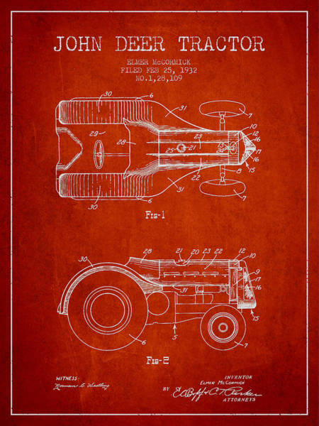 Old Tractor Digital Art - John Deer Tractor Patent Drawing From 1932 - Red by Aged Pixel