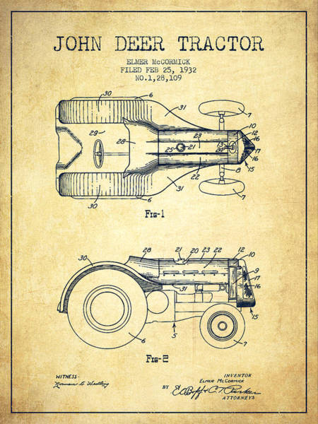 Old Tractor Digital Art - John Deer Tractor Patent Drawing From 1932 - Vintage by Aged Pixel