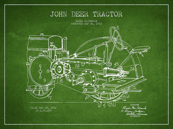 Old Tractor Digital Art - John Deer Tractor Patent Drawing From 1933 - Green by Aged Pixel