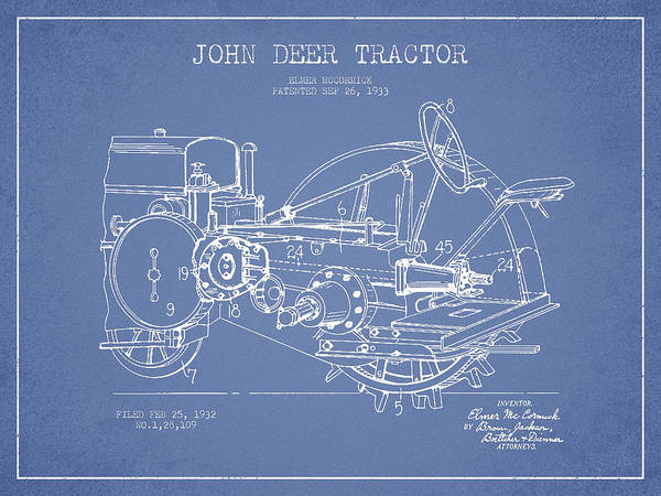 Old Tractor Digital Art - John Deer Tractor Patent Drawing From 1933 - Light Blue by Aged Pixel