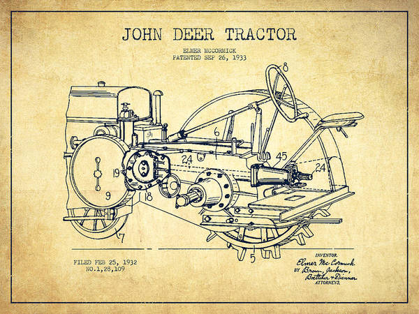 Farming Digital Art - John Deer Tractor Patent Drawing From 1933 - Vintage by Aged Pixel