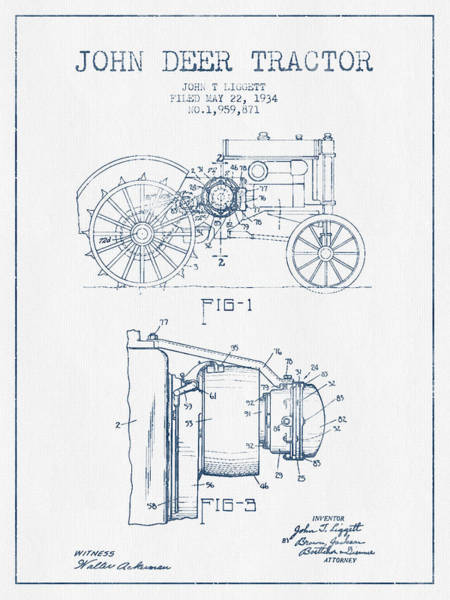 Old Tractor Digital Art - John Deer Tractor Patent Drawing From 1934- Blue Ink by Aged Pixel