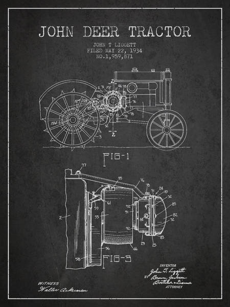 Old Tractor Digital Art - John Deer Tractor Patent Drawing From 1934 - Dark by Aged Pixel