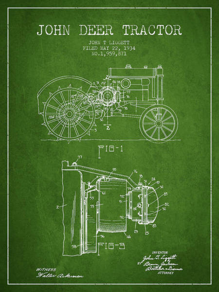 Old Tractor Digital Art - John Deer Tractor Patent Drawing From 1934 - Green by Aged Pixel