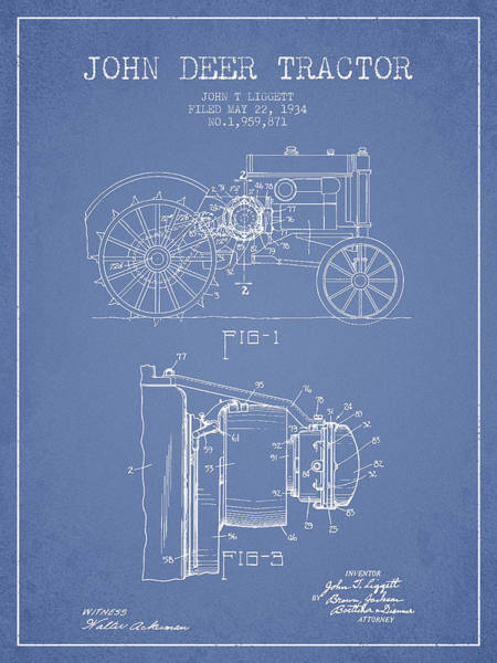 Old Tractor Digital Art - John Deer Tractor Patent Drawing From 1934 - Light Blue by Aged Pixel