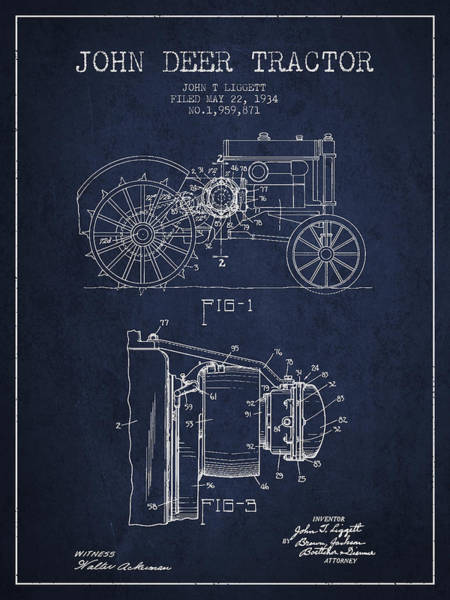 Farming Digital Art - John Deer Tractor Patent Drawing From 1934 - Navy Blue by Aged Pixel