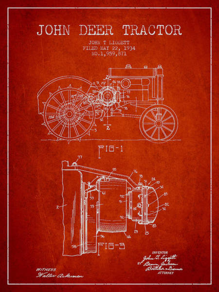 Old Tractor Digital Art - John Deer Tractor Patent Drawing From 1934 - Red by Aged Pixel