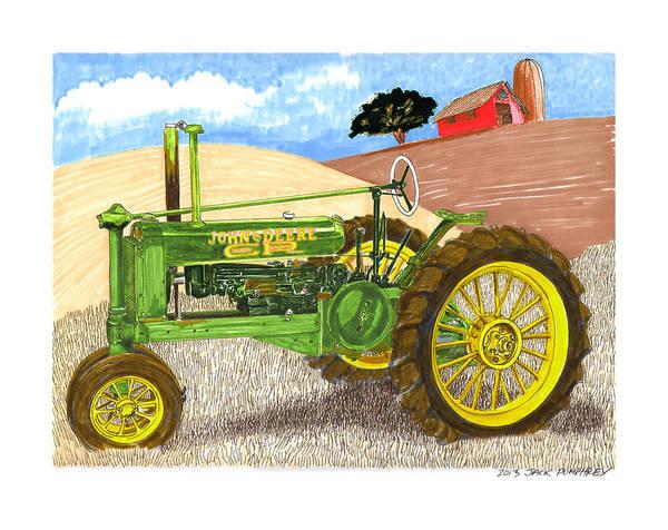 Vintage Tractor Painting - John Deere At Rest by Jack Pumphrey