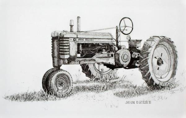Old Tractor Drawing - John Deere Awaiting Restoration by Scott Alcorn