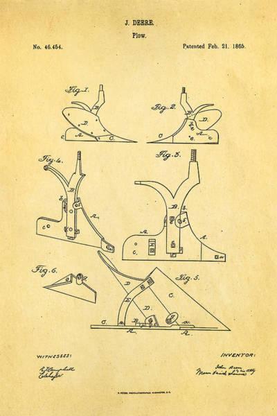 Plow Photograph - John Deere Plow Patent Art 1865 by Ian Monk