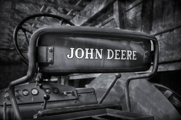 Photograph - John Deere Tractor Bw by Susan Candelario