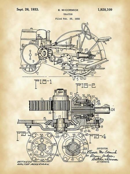 Old Tractor Digital Art - John Deere Tractor Patent 1932 - Vintage by Stephen Younts