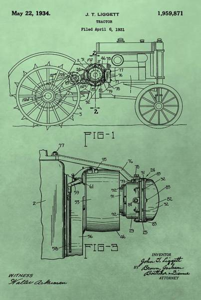 Digital Art - John Deere Tractor Patent by Dan Sproul