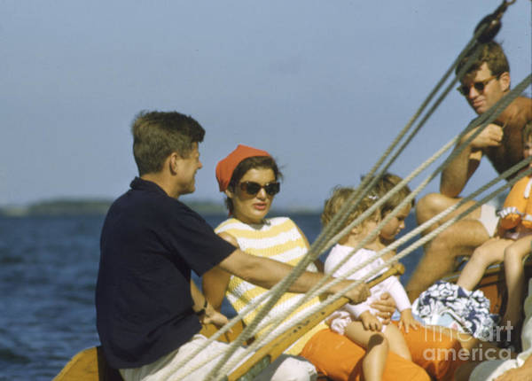 John F Kennedy Photograph - John F. Kennedy Boating by The Harrington Collection