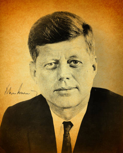 John Mixed Media - John F Kennedy Portrait And Signature by Design Turnpike