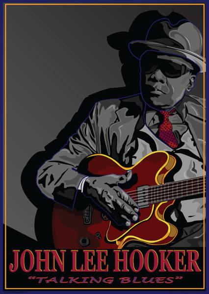 Wall Art - Digital Art - John Lee Hooker American Blues Musician by Larry Butterworth
