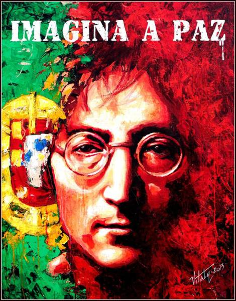 Conceptualism Painting - John Lennon - A Man Of Peace And The World. Portugal by Vitaliy Shcherbak