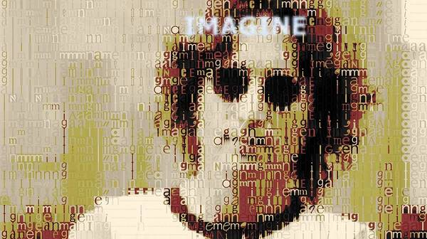 Mosaic Mixed Media - John Lennon Imagine Typography by Dan Sproul