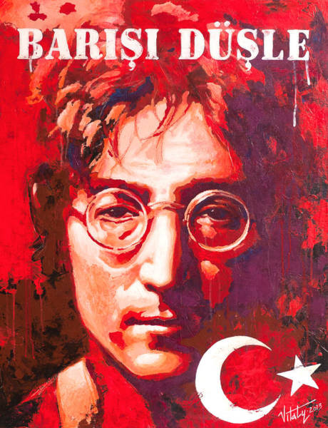 Conceptualism Painting - John Lennon. On The Turkish Flag by Vitaliy Shcherbak
