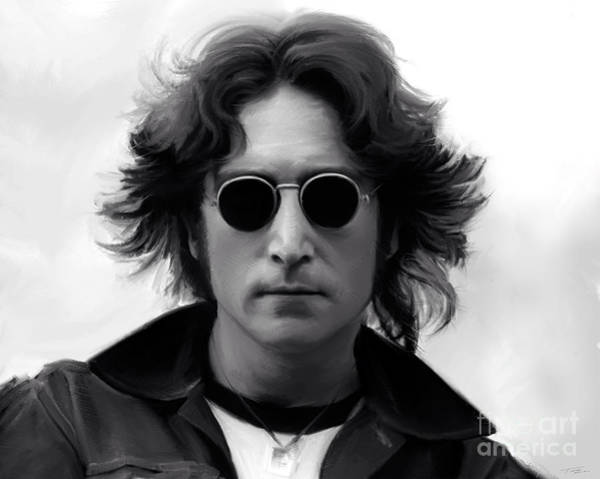 Shower Curtain Painting - John Lennon by Paul Tagliamonte