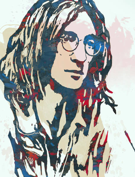 Stylized Drawing - John Lennon Pop Art Sketch Poster by Kim Wang