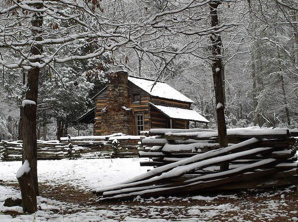 John Oliver Cabin Photograph - John Oliver Cabin In The Snow by Terena Boone