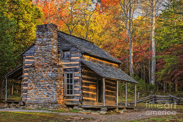 John Oliver Cabin Photograph - John Oliver's Cabin In Great Smoky Mountains by Priscilla Burgers