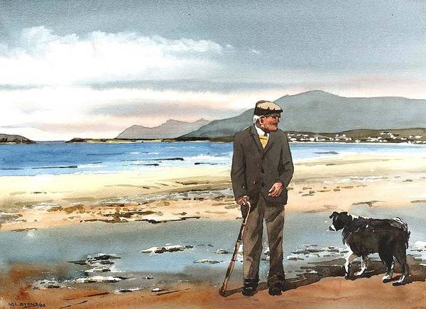 Painting - John O'malley Of Dookinella Achill Mayo by Val Byrne