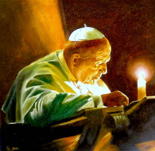 Umber Painting - John Paul II by Henryk Gorecki