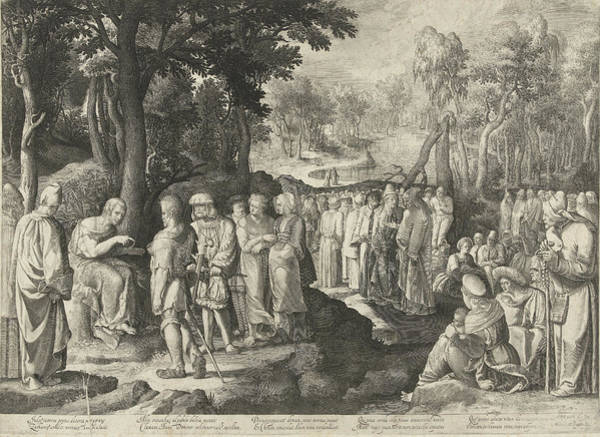 Bystander Drawing - John The Baptist Preaches To The Crowd, Nicolaes De Bruyn by Nicolaes De Bruyn