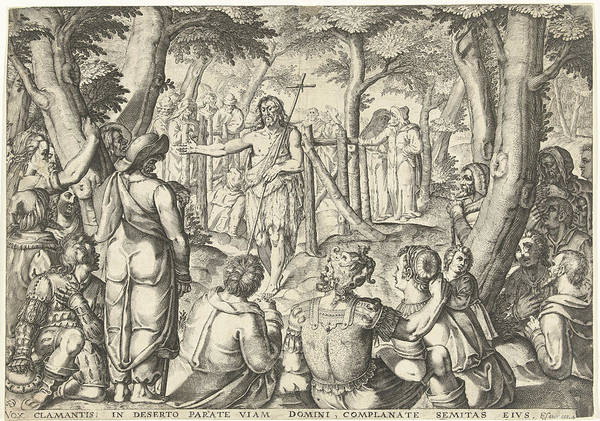 Bystander Drawing - John The Baptist Preaching To A Group Of People by Bartholomeus Willemsz. Dolendo