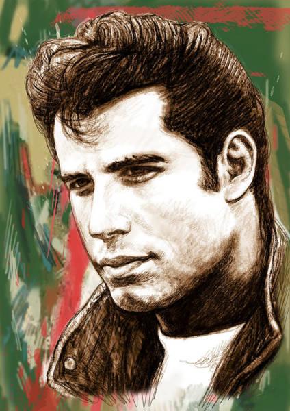 First Star Drawing - John Travolta - Stylised Drawing Art Poster by Kim Wang