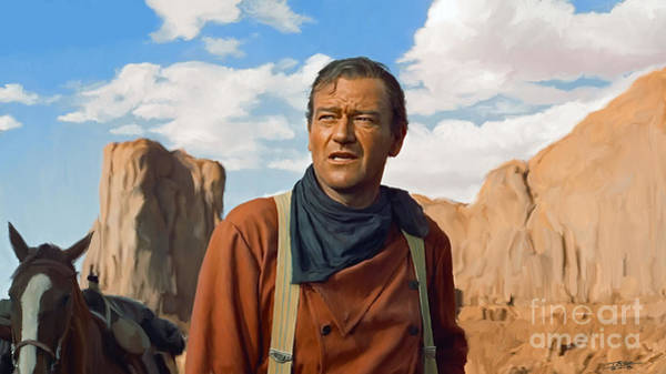 Cowboy Movie Wall Art - Painting - John Wayne by Paul Tagliamonte