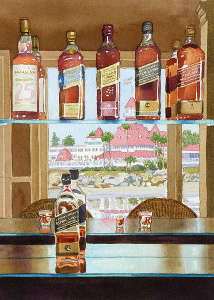 Whiskey Wall Art - Painting - Johnnie Walker And Del by Mary Helmreich