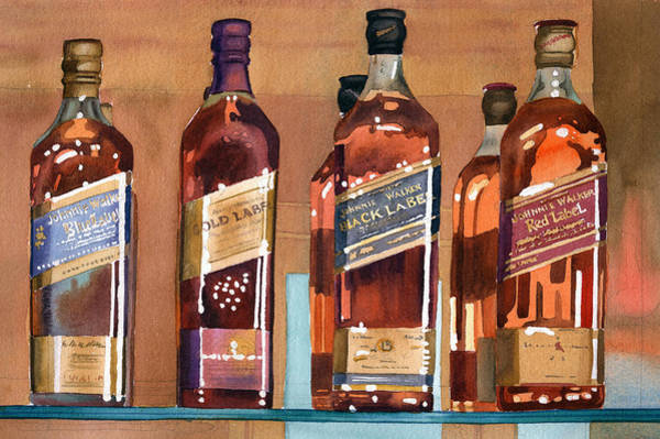 Whiskey Wall Art - Painting - Johnnie Walker by Mary Helmreich