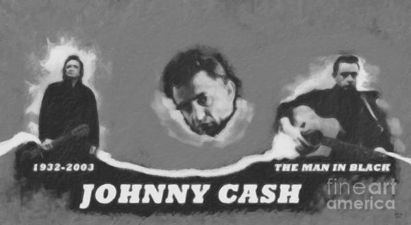 Painting - Johnny Cash by David Millenheft