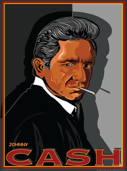 Wall Art - Digital Art - Johnny Cash American Country Music Icon by Larry Butterworth