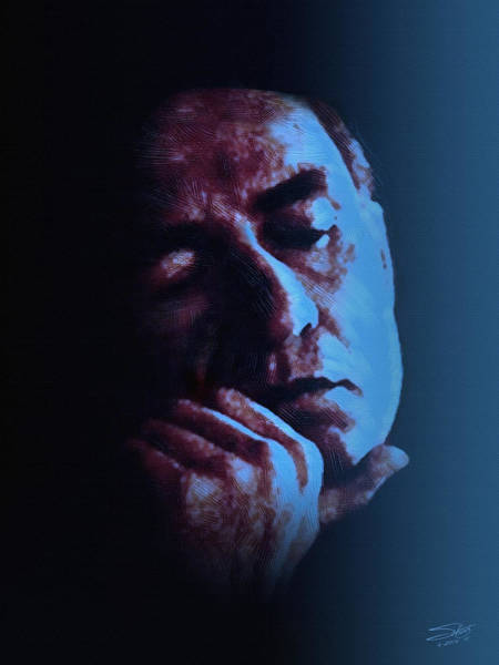 Johnny Cash Painting - Johnny Cash Portrait In Blue by M Spadecaller