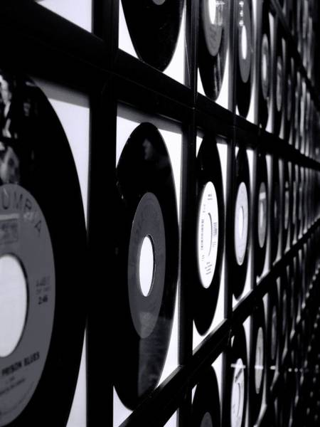 Photograph - Johnny Cash Records Black And White by Dan Sproul