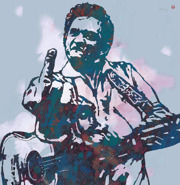 Marilyn Drawing - Johnny Cash - Stylised Etching Pop Art Poster by Kim Wang