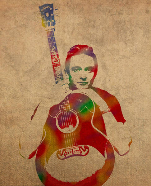 Watercolor Portrait Mixed Media - Johnny Cash Watercolor Portrait On Worn Distressed Canvas by Design Turnpike