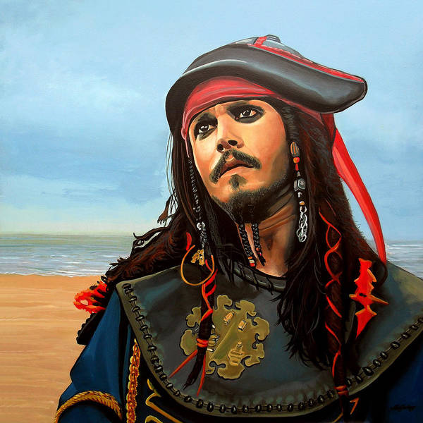 Flag Wall Art - Painting - Johnny Depp As Jack Sparrow by Paul Meijering