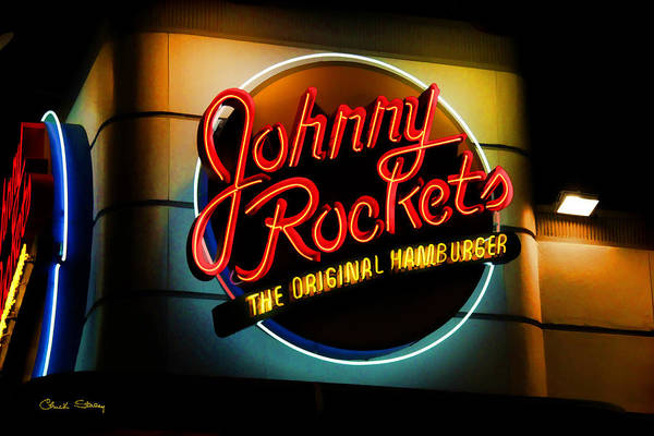 Photograph - Johnny Rockets Sign by Chuck Staley