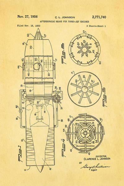 Fitter Photograph - Johnson Jet Afterburner Patent Art 1956 by Ian Monk