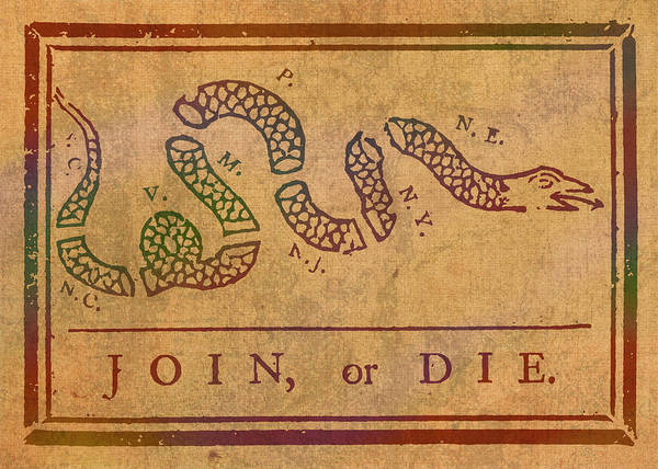 Join Wall Art - Mixed Media - Join Or Die Benjamin Franklin Political Cartoon Pennsylvania Gazette Commentary 1754 On Parchment  by Design Turnpike