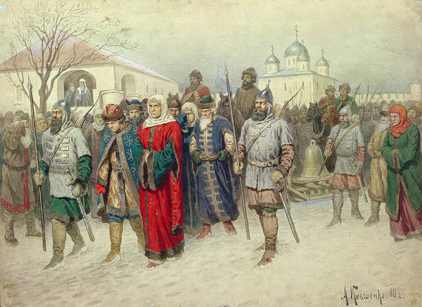 Procession Photograph - Joining Of Great Novgorod, Novgorodians Departing To Moscow, 1880 Wc On Paper by Aleksei Danilovich Kivshenko