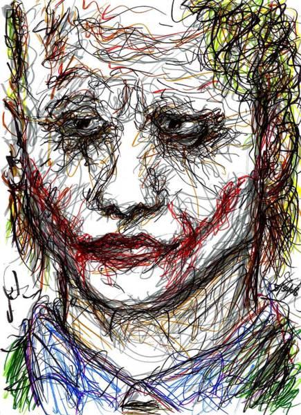 Drawing - Joker - Interrogation by Rachel Scott