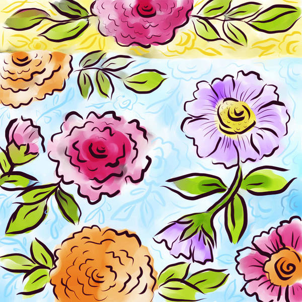 Wall Art - Digital Art - Jolly Bouquet by Elaine Jackson