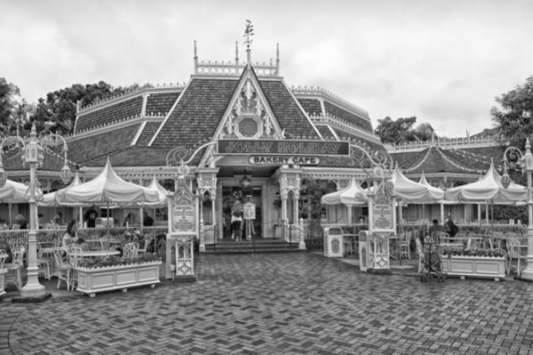 Clothier Photograph - Jolly Holiday Cafe Main Street Disneyland Bw by Thomas Woolworth